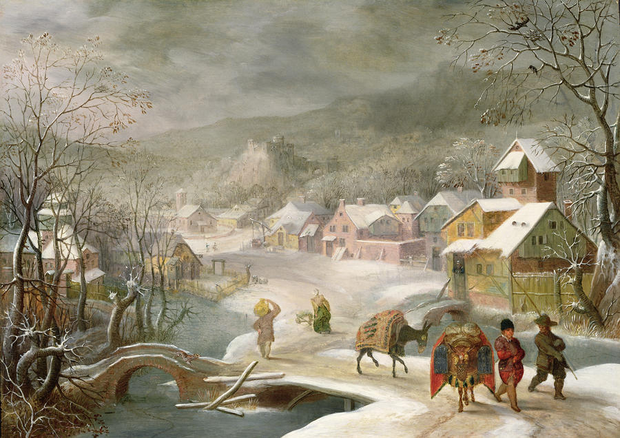 A Winter Landscape With Travellers On A Path Painting