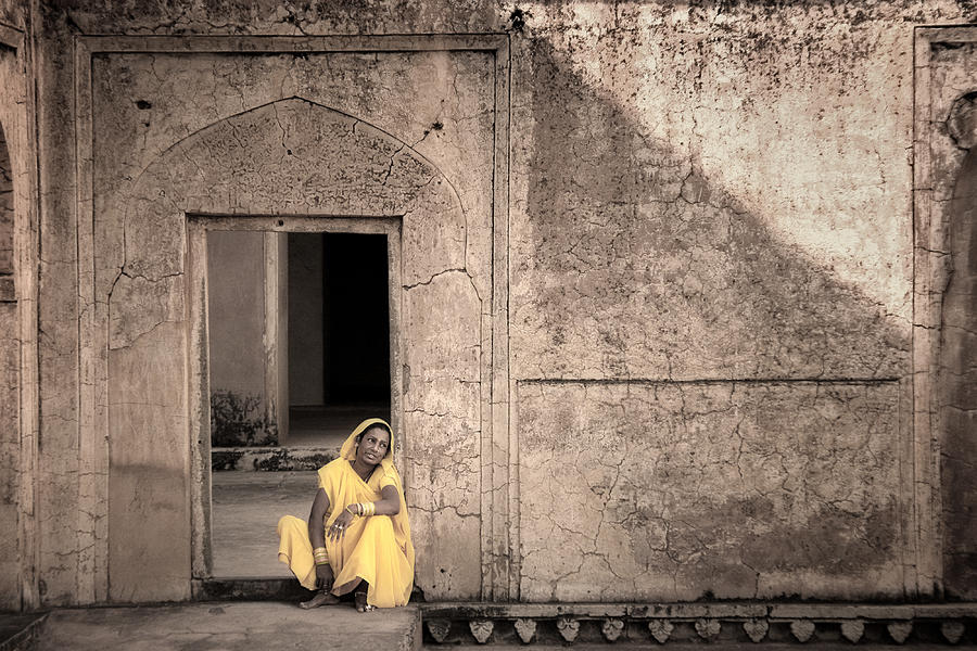 A Woman In Yellow Dress Photograph  - A Woman In Yellow Dress Fine Art Print