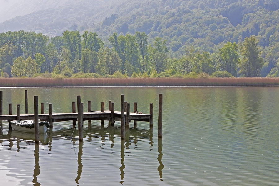 A Wooden Pier At A Small Lake Photograph  - A Wooden Pier At A Small Lake Fine Art Print