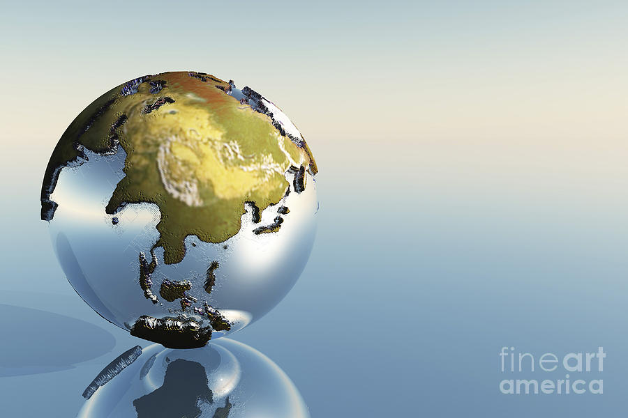 A World Globe Showing The Continents Digital Art
