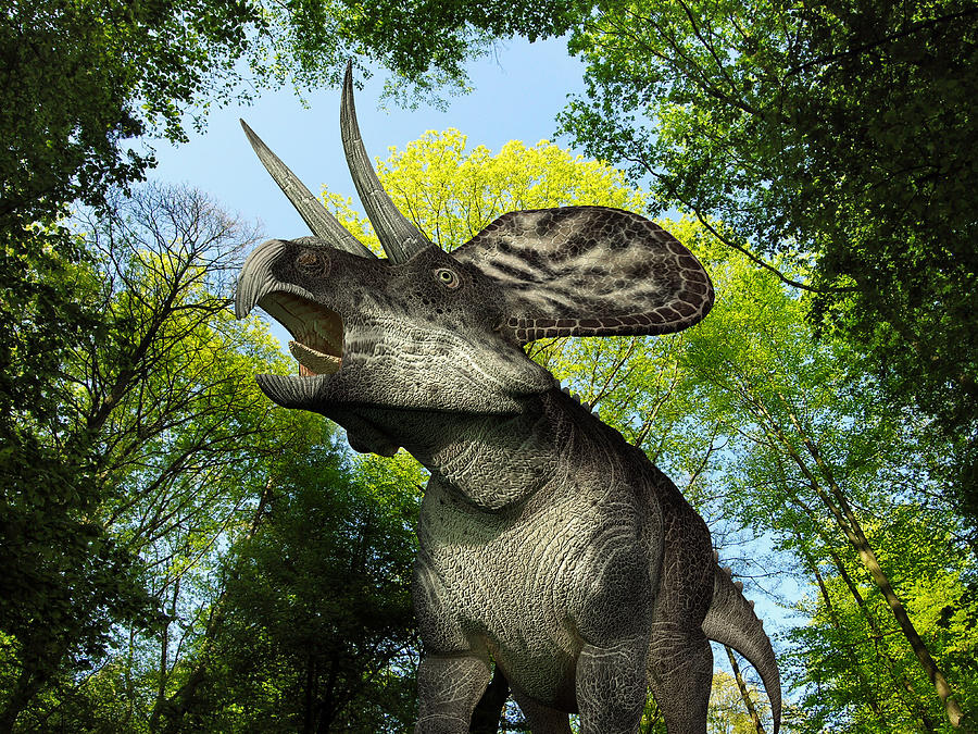 Nature Digital Art - A Zuniceratops Wanders A Cretaceous by Walter Myers