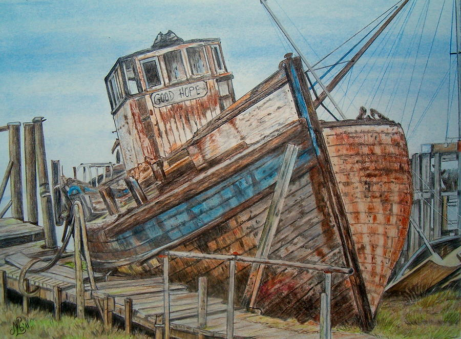Abandoned Boat Painting