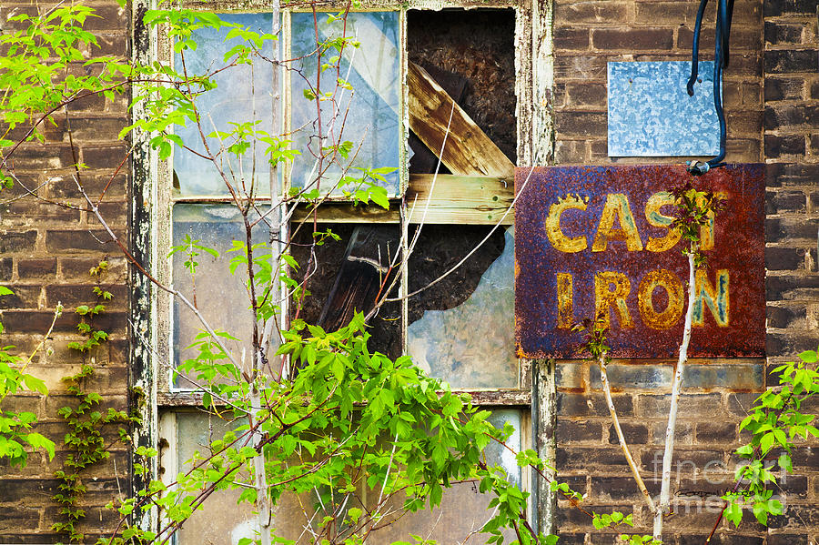 Abandoned Factory With Rusted Metal Sign Photograph  - Abandoned Factory With Rusted Metal Sign Fine Art Print