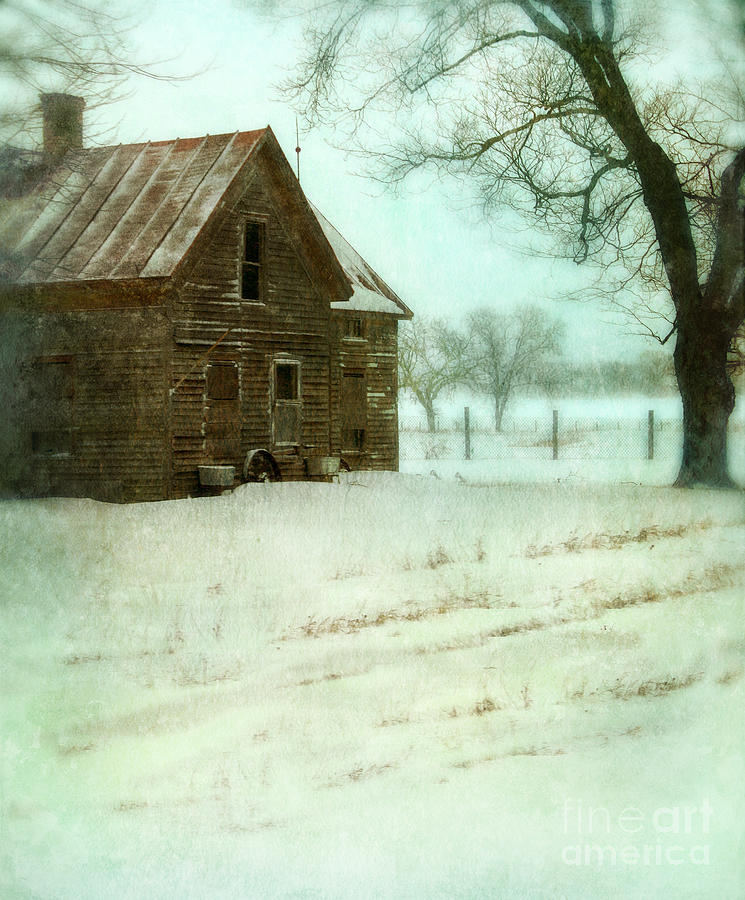 Abandoned Farmhouse In Snow Photograph