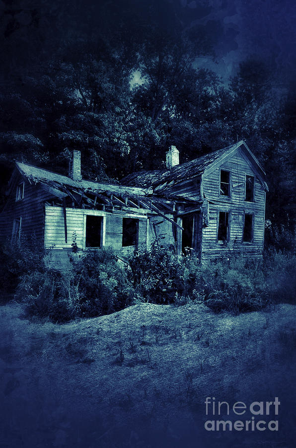 Abandoned House At Night Photograph by Jill Battaglia
