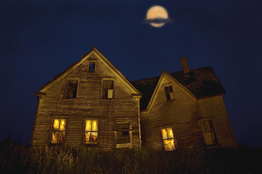 Abandoned House At Night Under Full Photograph by John ...