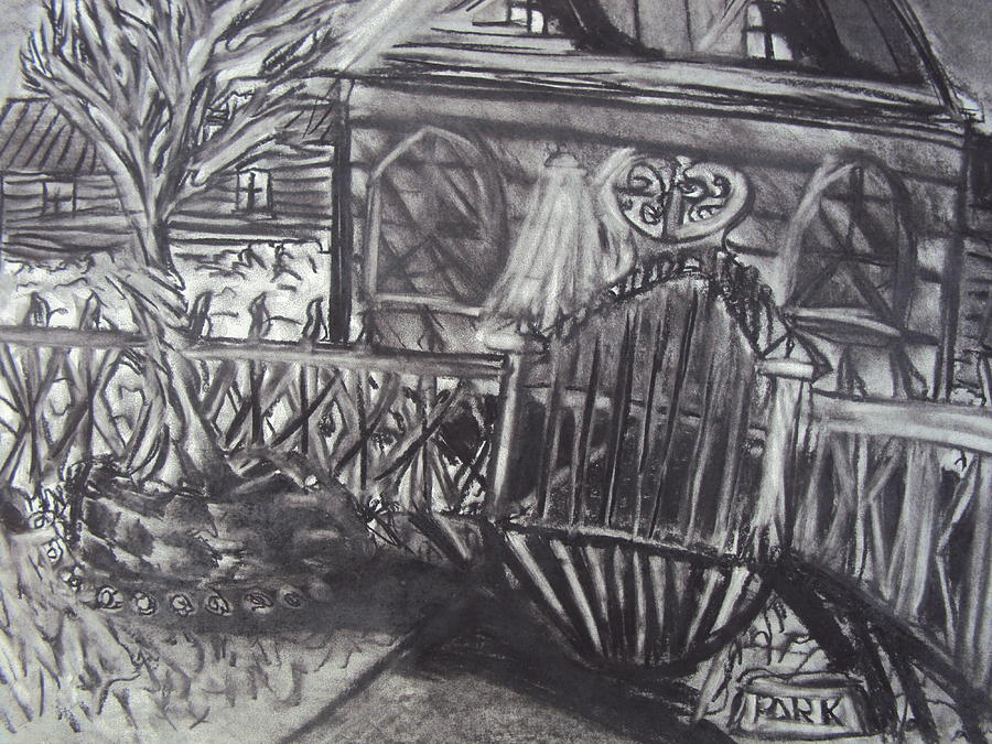 Abandoned House With Gate Drawing