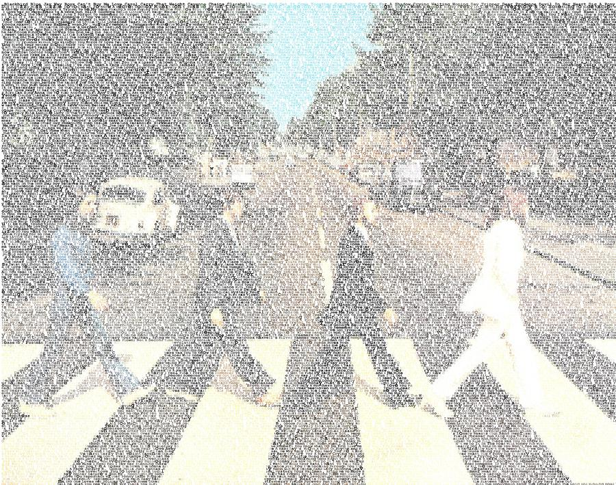 Abbey Road Beatles Songs Mosaic Digital Art  - Abbey Road Beatles Songs Mosaic Fine Art Print
