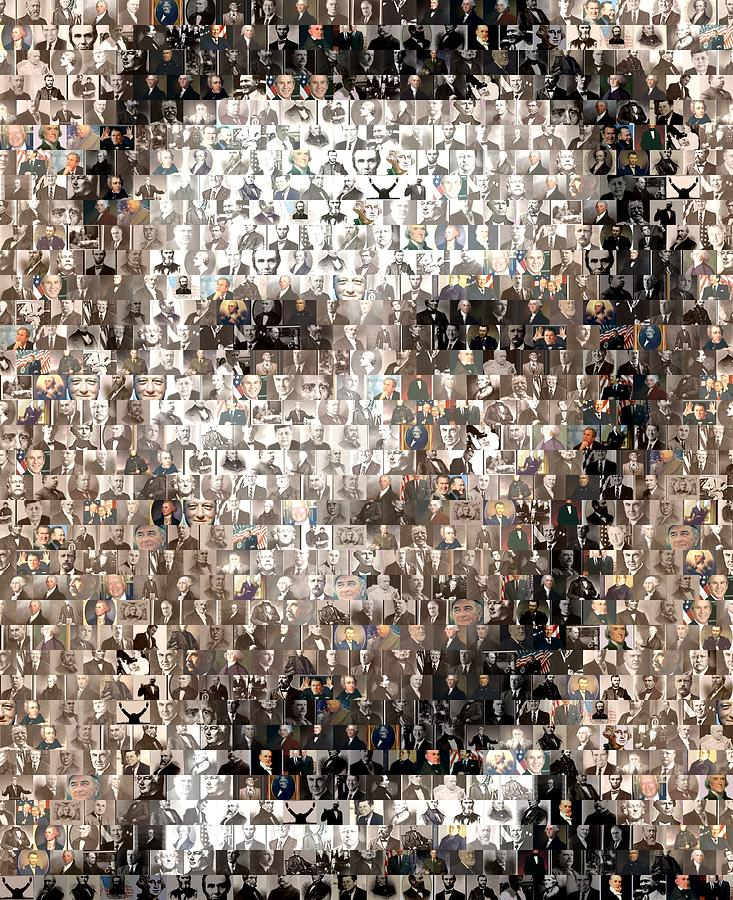 Abe Lincoln Presidents Mosaic Digital Art  - Abe Lincoln Presidents Mosaic Fine Art Print