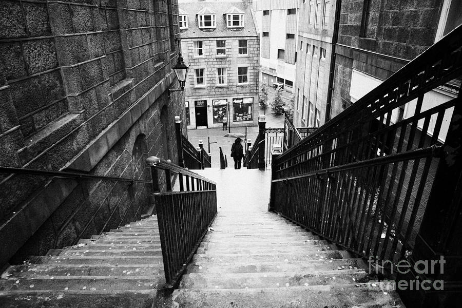 Aberdeen Union Street Back Wynd Stairs Scotland Uk Photograph  - Aberdeen Union Street Back Wynd Stairs Scotland Uk Fine Art Print
