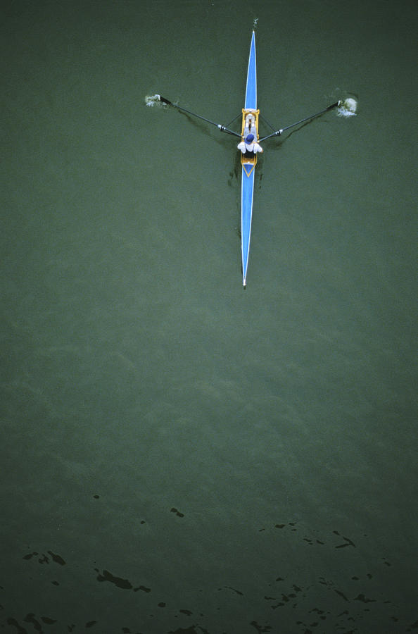 Above View Of A Single Scull Photograph  - Above View Of A Single Scull Fine Art Print