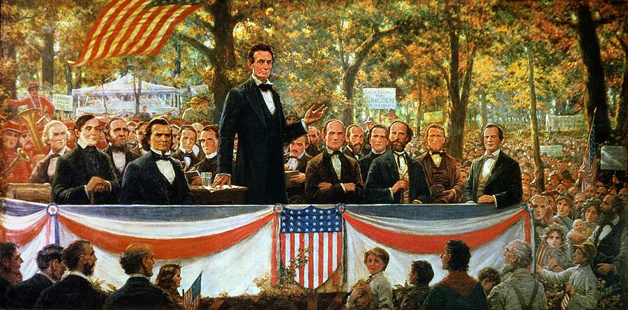 Abraham Lincoln And Stephen A Douglas Debating At Charleston Painting  - Abraham Lincoln And Stephen A Douglas Debating At Charleston Fine Art Print