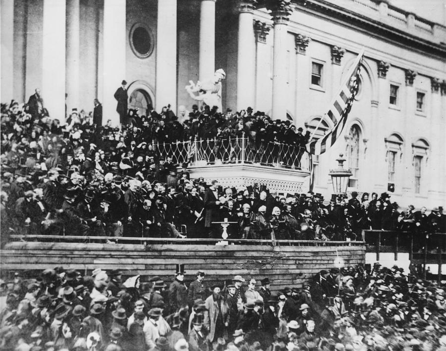Abraham Lincoln Gives His Second Inaugural Address - March 4 1865 Photograph  - Abraham Lincoln Gives His Second Inaugural Address - March 4 1865 Fine Art Print