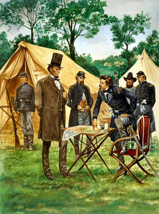Abraham Lincoln Plans His Campaign During The American Civil War  Painting  - Abraham Lincoln Plans His Campaign During The American Civil War  Fine Art Print