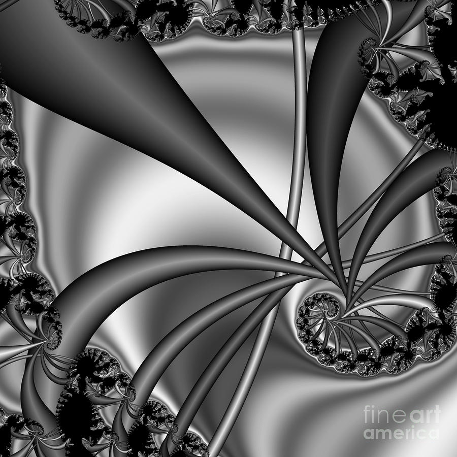 Abstract 123 Bw Digital Art  - Abstract 123 Bw Fine Art Print