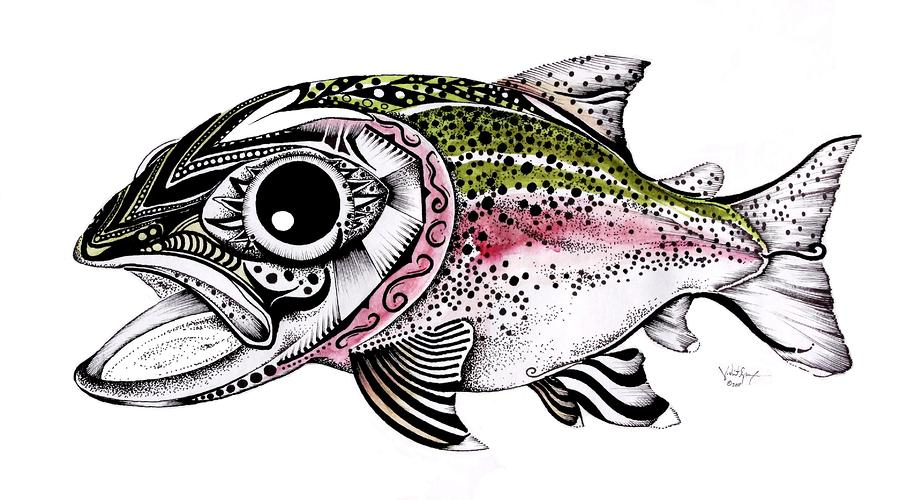 Abstract Alaskan Rainbow Trout Painting  - Abstract Alaskan Rainbow Trout Fine Art Print