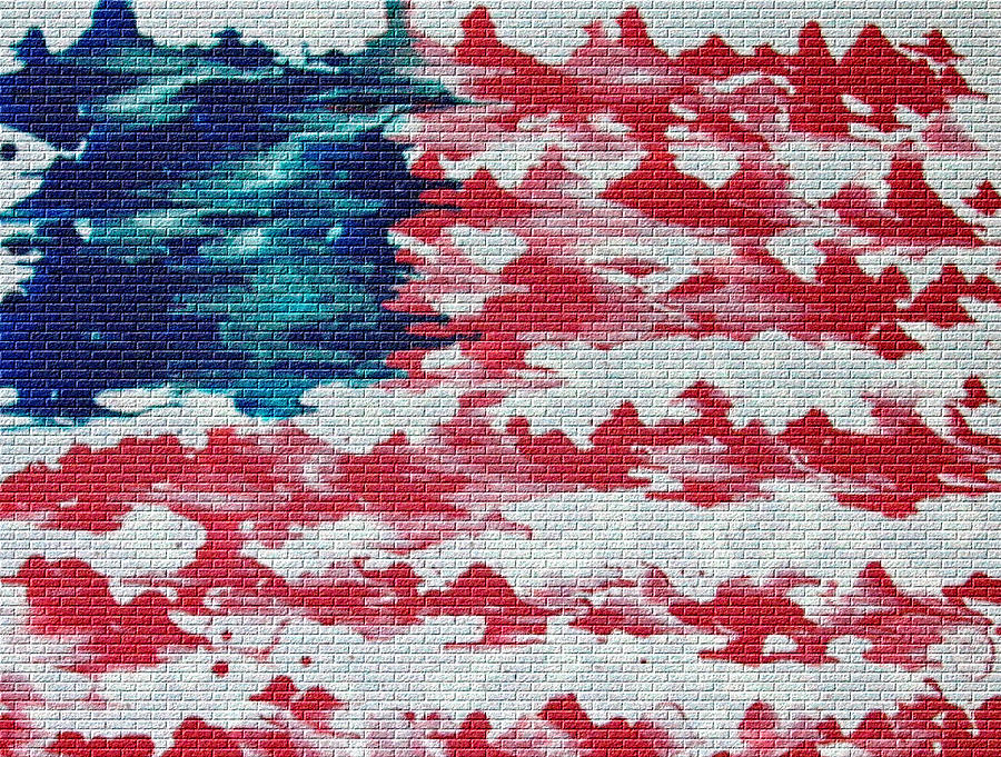 Abstract American Flag  Mixed Media