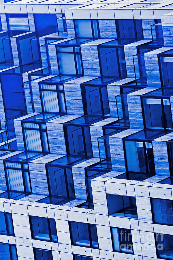 Abstract Architecture In Blue Photograph  - Abstract Architecture In Blue Fine Art Print