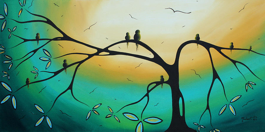 Abstract Art Landscape Bird Painting Family Perch By Madart Painting  - Abstract Art Landscape Bird Painting Family Perch By Madart Fine Art Print