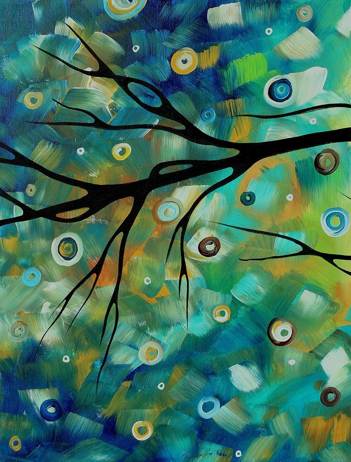Abstract Art Original Landscape Painting Colorful Circles Morning Blues II By Madart Painting
