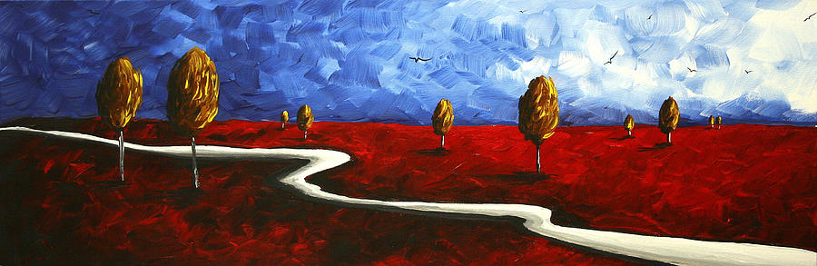 Abstract Art Original Landscape Painting Winding Road By Madart Painting