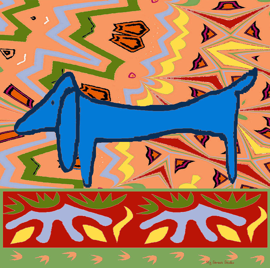 Blue Painting - Abstract Blue Dachshund by Jerry Schwehm