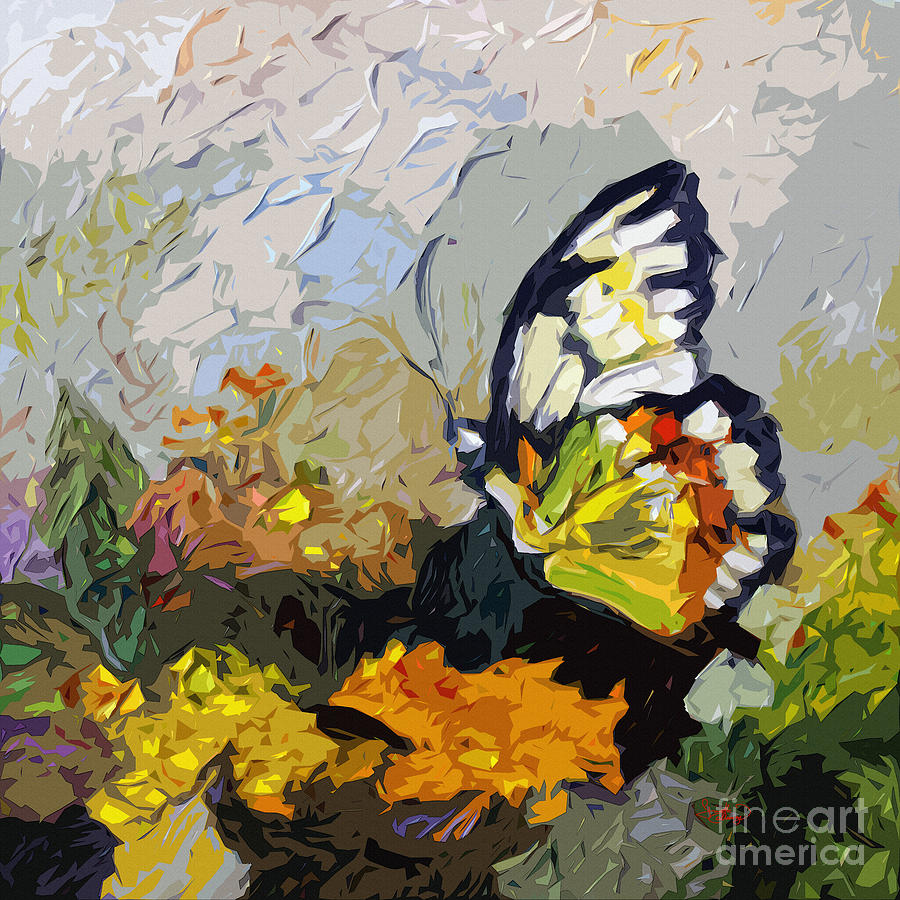 Abstract Butterfly On Lantana Painting  - Abstract Butterfly On Lantana Fine Art Print