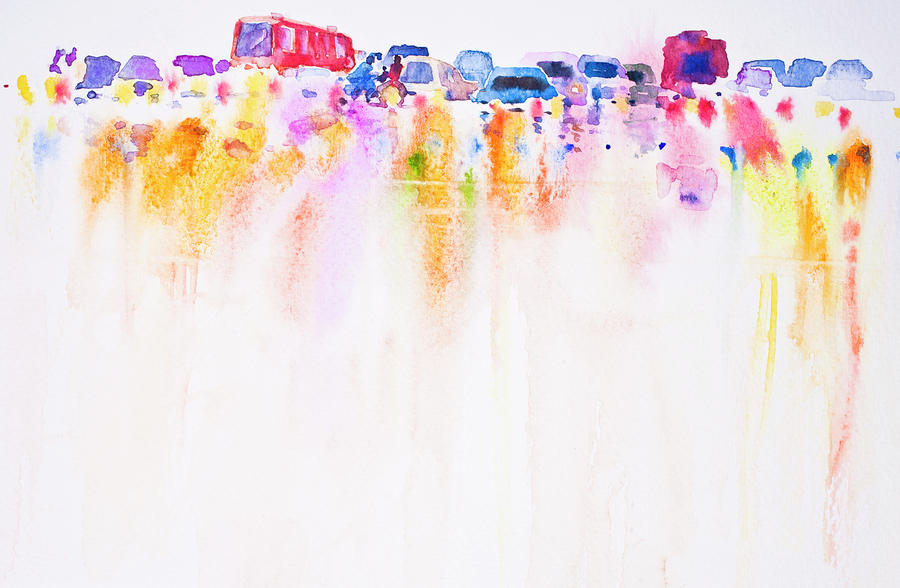 Abstract Car On The Road Watercolor Hand Painted ...