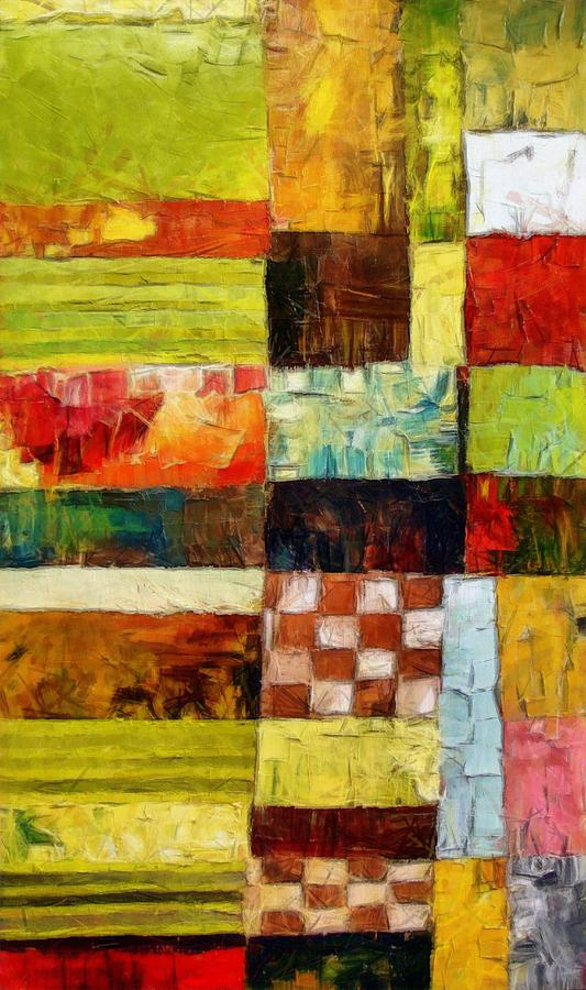 Abstract Color Study With Checkerboard And Stripes Painting  - Abstract Color Study With Checkerboard And Stripes Fine Art Print