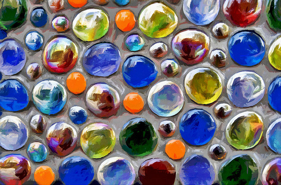 abstract digital multi colored glass balls photograph
