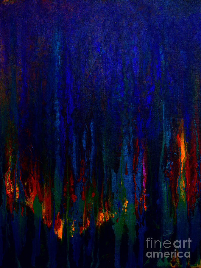 Abstract Painting - Abstract Evergreens by Claire Bull