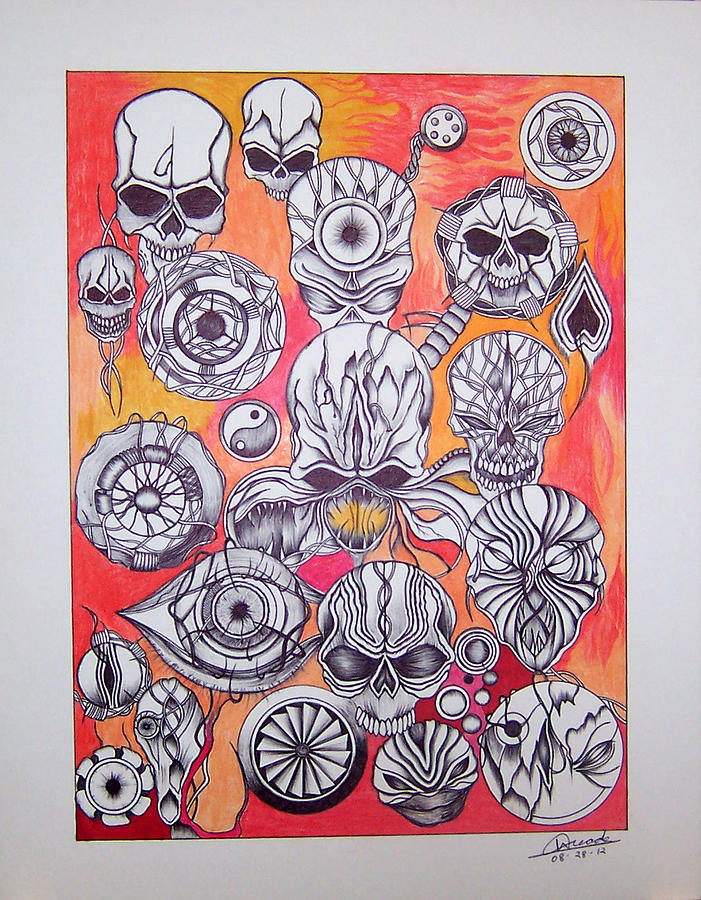 Abstract Fire Skulls Collage Mixed Media