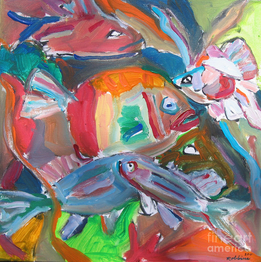 Abstract fish by marlene robbins for Paintings of fish