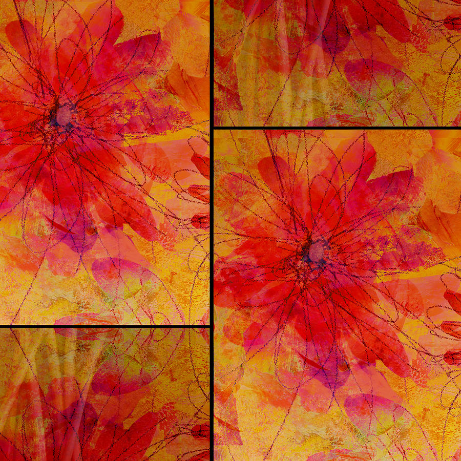 Abstract floral collage digital art by ann powell for Abstract art flowers paintings