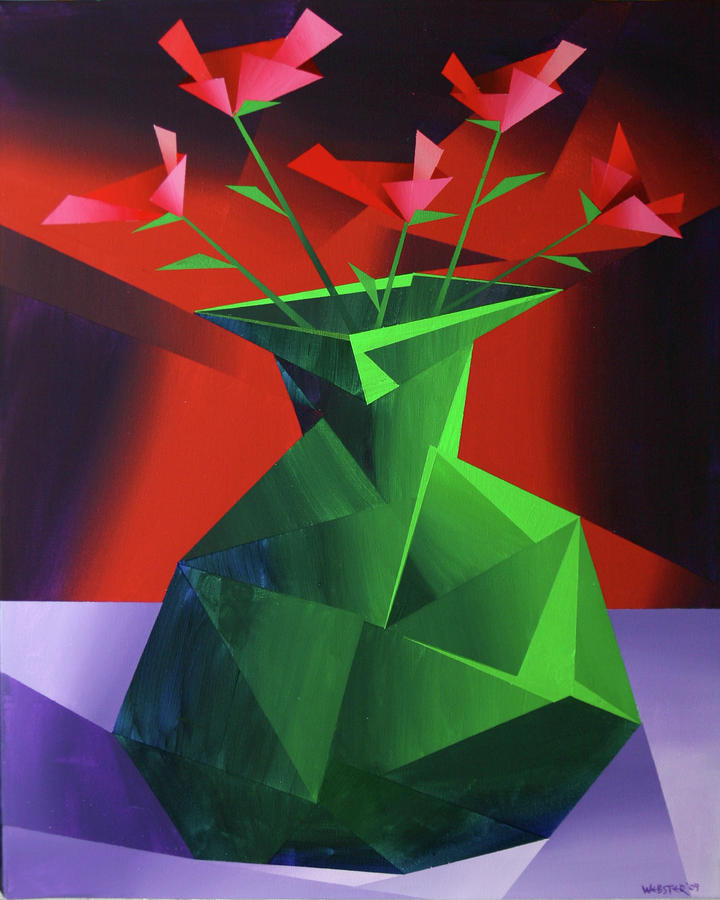 Abstract Flower Vase Prism Acrylic Painting Painting  - Abstract Flower Vase Prism Acrylic Painting Fine Art Print