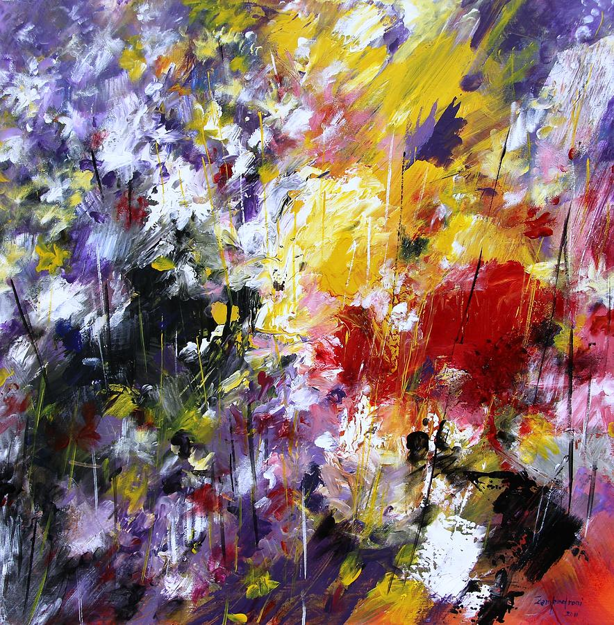 Abstract flowers painting by mario zampedroni for Flower paintings on canvas