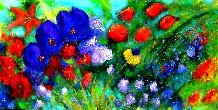 Abstract Painting - Abstract Flowers by Marie-Line Vasseur