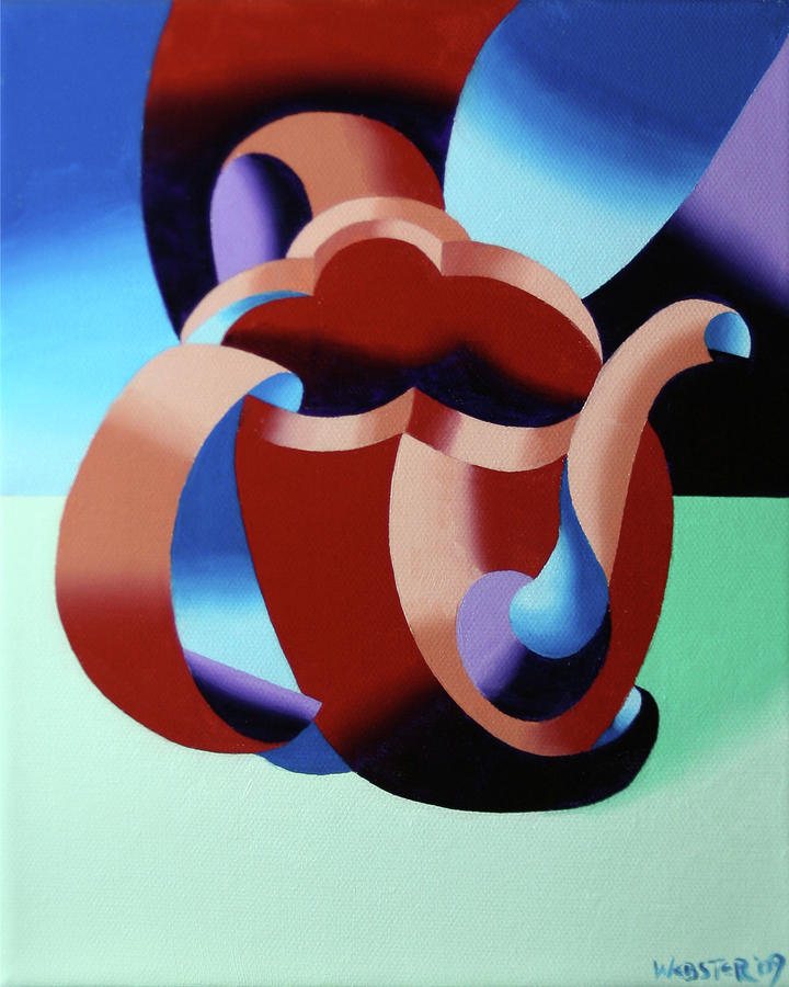 Abstract Futurist Teapot Painting  - Abstract Futurist Teapot Fine Art Print