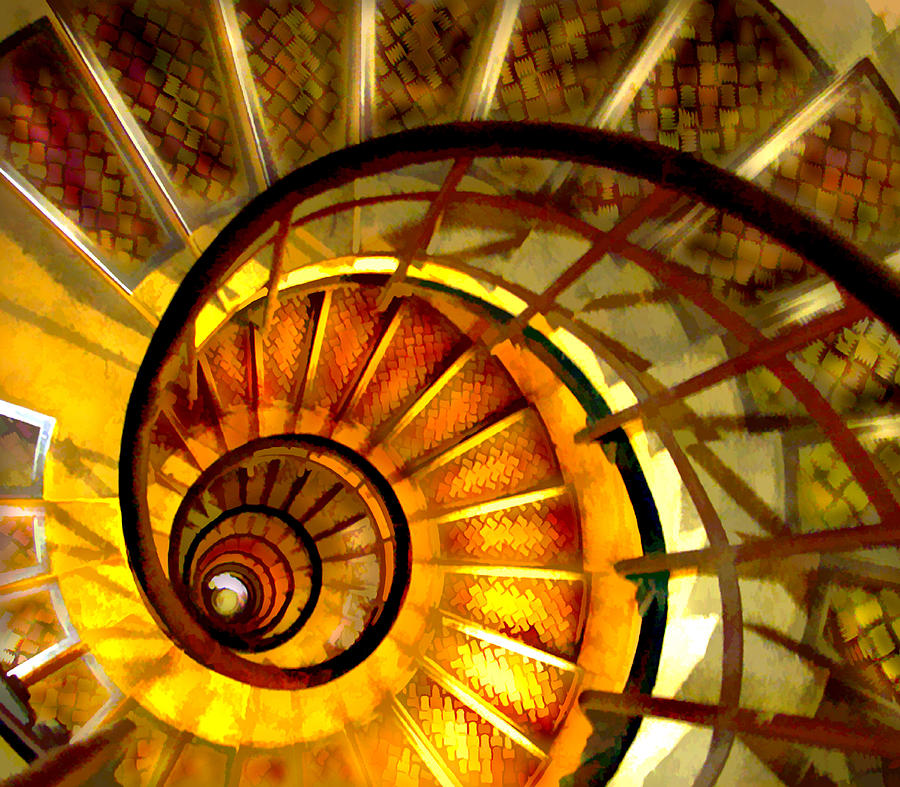 Abstract Golden Nautilus Spiral Staircase Painting