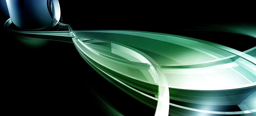 Horizontal Digital Art - Abstract Lines, Leaf Shape by Ralf Hiemisch