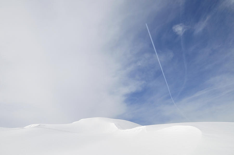 Abstract Minimalist Winter Landscape - Snow And Blue Sky Photograph  - Abstract Minimalist Winter Landscape - Snow And Blue Sky Fine Art Print