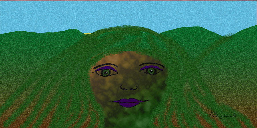 Abstract Mountain Woman Digital Art