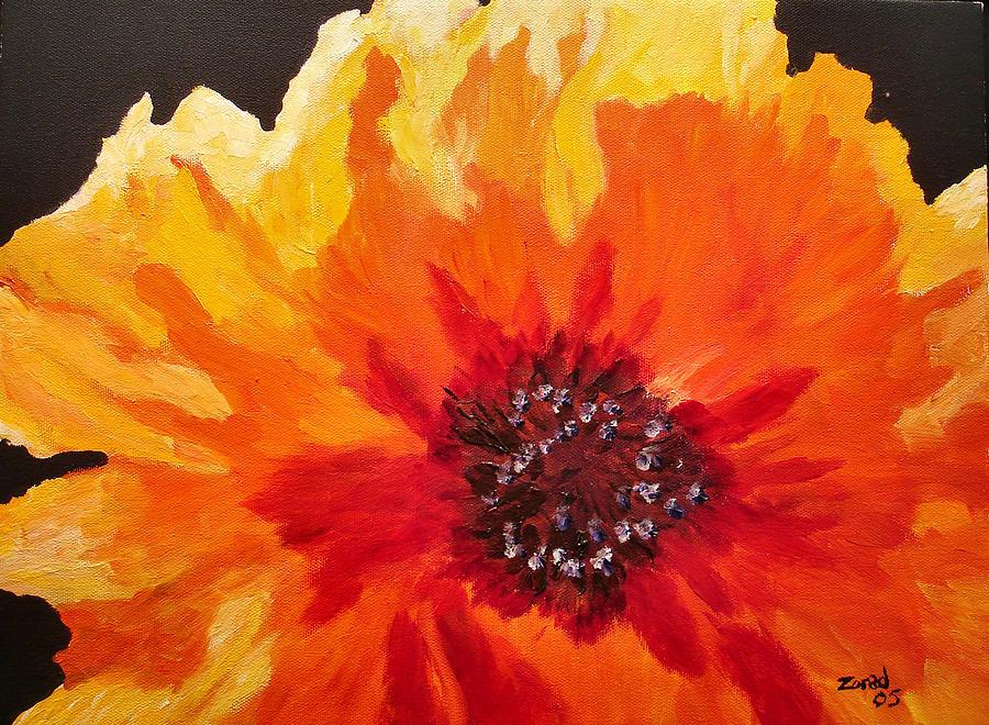 Abstract Orange Flower by Mary Jo Zorad