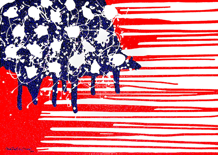 Abstract Plastic Wrapped  Abstract American Flag Art