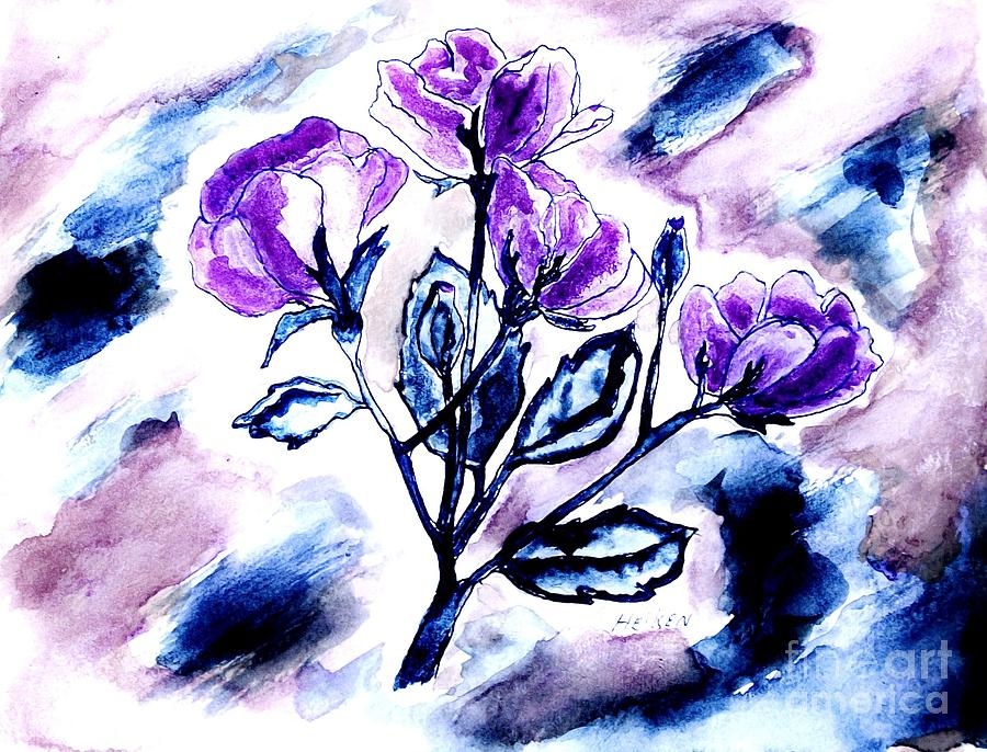 Abstract Purple Roses Painting