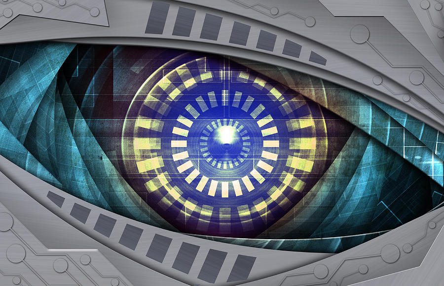 Abstract Robot Eye Mixed Media