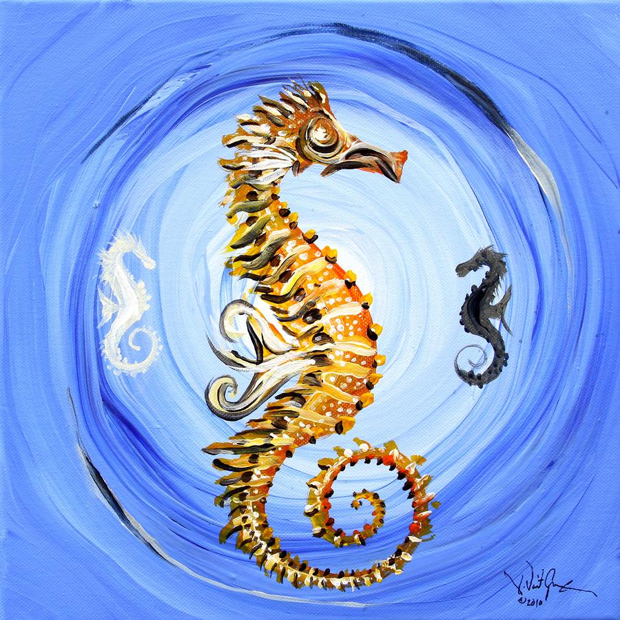 Abstract Sea Horse Painting  - Abstract Sea Horse Fine Art Print