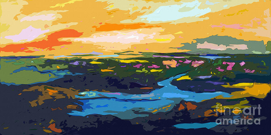 Abstract Sunset Landscape Waterways Painting