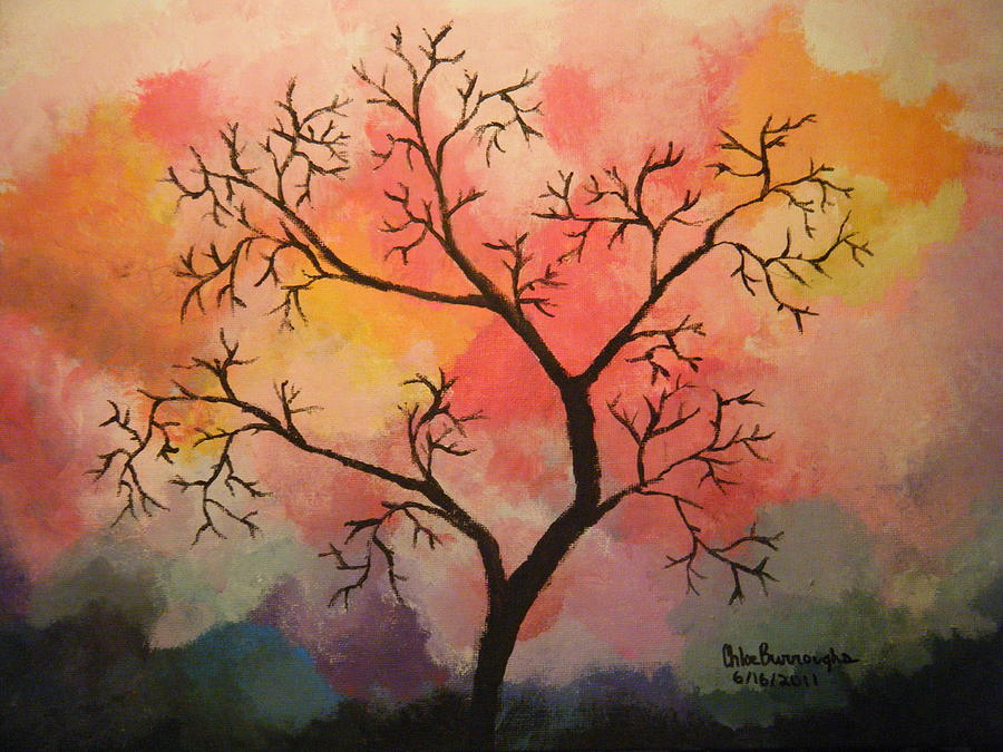 Abstract Tree In Acrylic Painting by Chloe Burroughs