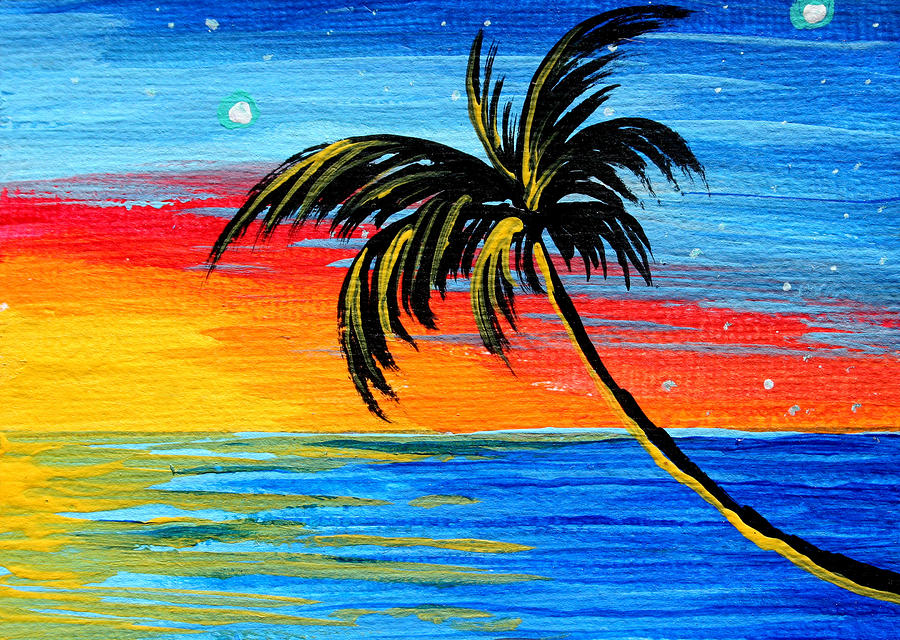 Abstract tropical palm tree painting tropical goodbye by for Painting palm trees